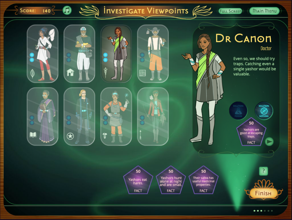 Screenshot from the Quandary game.
